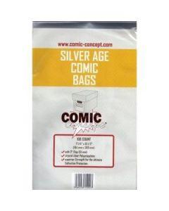 "Comic Concept Silver Size Comic Bags 266 x 187mm (7 1/4"" x 10 1/2"") Pk 100"